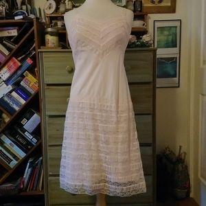 Sweetest 70s vintage pink lace slip dress, wedding